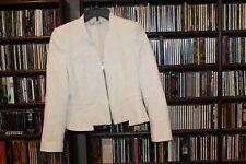 Zara Trafaluc White Zip Textured Blazer Jacket Ladies sz M (b84)