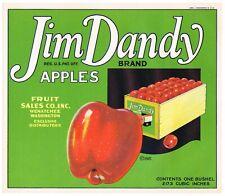 GENUINE APPLE CRATE LABEL WENATCHEE WASHINGTON VINTAGE JIM DANDY C1920S BOX