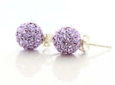 Lilac Purple Genuine Solid Sterling Silver Crystal Ball Stud Earrings for Women