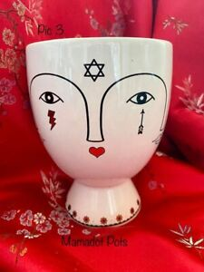 Face Head White Ceramic with Black and Gold Motifs Planter Pot