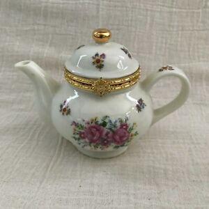 Limoges Style Teapot Trinket Box, Baum Bros, Rose Floral Pattern