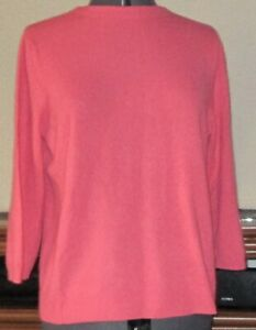 Talbots Women's XL Pure Cashmere Pullover Sweater Pinkish-Salmon 3/4 Sleeve