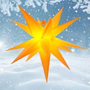LED - Adventsstern SET 55 cm Gartenstern Außenstern Weihnachtsstern gelb-orange