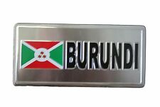 BURUNDI  FLAG-SILVER LICENSED STICKER FLAG PLATE..SIZE: 6 X 3 INCH