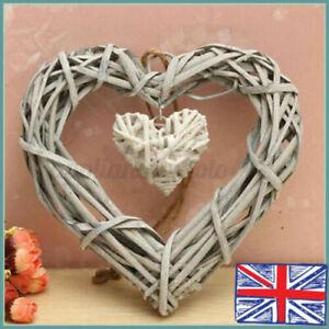 Shabby Wicker Heart Wreath Home Wall Hanging Wedding Birthday Party Decor Gift
