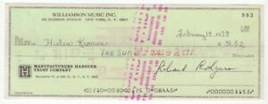 Richard Rodgers - Broadway Composer - Autographed 1979 Check w/ PSA COA