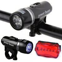 New 5 LED Lamp Bike Bicycle Front Head Light + Rear Safety Flashlight Waterproof