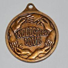 Woodstock Peace Love bronze medallion pendant unusual vintage