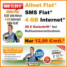 Klarmobil Allnet Flat Handyvertrag Sim Only Internet Flat 4GB Vertrag ohne Handy