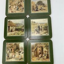 Vintage Pimpernel Drinks Coasters County Farming Scenes Cork Backed X 6