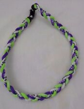 "20"" Necklace Sport Titanium 3 Rope Twist Sport Purple/ Lime Green / White New"