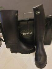 Le Chameau Men's St Hubert Leather Lined Boots size 40 UK 6.5 NEW Noir Black