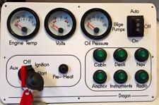 Boat, Marine Instrument / switch panel White dial oil, temp, volts six switch