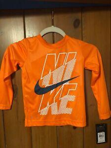 Nike Long Sleeve Dri-Fit Nike Logo Orange & White Youth XS Brand New W/Tags