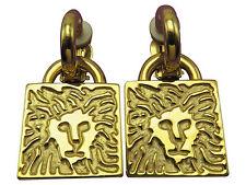 Anne Klein Vintage Clip Earrings Lion Head Gold Large Door Knocker 401g