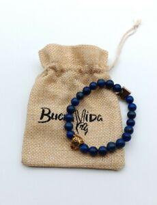 Buena Vida Lapis Lazuli Natural Stones Bracelet With Cheetah Charm