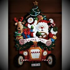 "BUCILLA FELT JEWELED CHRISTMAS MAIL TRUCK SANTA  WALL HANGING KIT 15"" X 22.5"""