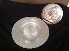 Vintage Rodney Kent Hammered Tulip Aluminum glass Candy Dish insert & Lid # 437