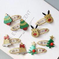 2x Girl Kids Baby Christmas Hair Clips Hair Pin Santa Tree Bell Hair Accessories