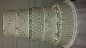 Beautiful Faux Wedding Cake With Diamond Rhinestones and Necklaces
