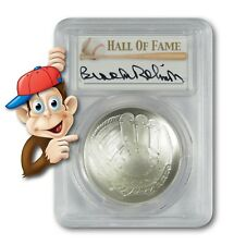 2014-P Baseball HOF Silver $1 -- PCGS MS70 -- Hand Signed By Brooks Robinson