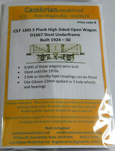 CAMBRIAN C57 LMS 12ton 5 PLANK HIGH-SIDED GOODS WAGON D1667 NEW OO GAUGE