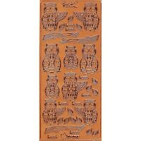 Stickers Tan Embossed Owls for Card Making Scrapbooking NEW