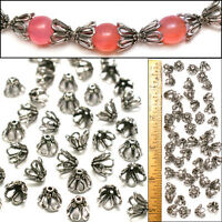 10mm Bali Style 925 Sterling Silver PL Wire Loop FLOWER Filigree Bead Caps 50pc