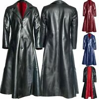 Men Winter Gothic Trench Coat Turn Neck Solid Long Leather Casual Warm Jacket