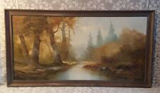 "Original Josef Kugler Signed Wood Framed Landscape Oil Painting Canvas 52"" x 28"""