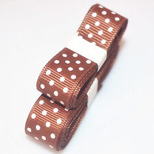 "3yds 5/8""(15 mm) Brown Christmas Ribbon Printed lovely Dots Grosgrain"