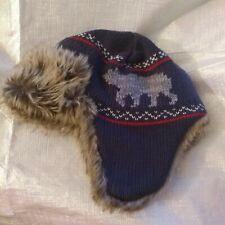 Hanna Andersson Medium Trapper Hunter Hat Faux Fur Knit Ear Flaps Winter Beanie