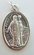 "Saint Patrick Religious Charm Pendant Pray For Us Medal Silver Tone Metal 3/4"""
