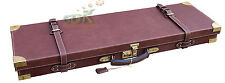 "32"" OAK CASE, OAK & SOLID BRASS LEATHER SHOTGUN CASE, LEATHER GUN CASE,"