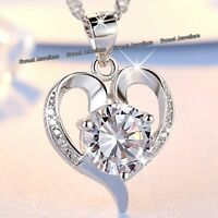 LOVE Xmas Gifts For Her 925 Silver Diamond Heart Necklace Wife Girlfriend Women