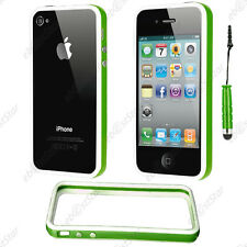 Housse Coque Etui Bumper Vert / Blanc Apple iPhone 4S 4 + Mini Stylet