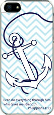 iPhone 5 Plain Faith Anchor Philippians 4:13 Designed Sticker on Hard Case Cover