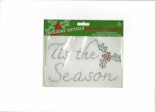"Iron-On Rhinestones Applique "" Tis The Season "" Fabric  Embellishment Christmas"