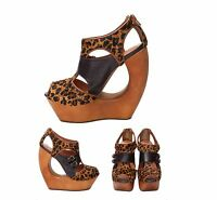 Jeffrey Campbell Rock me Cheetah Women's Fashion Wedge Platform Sandal Shoes