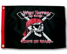 """What Happens On Board Boat Flag 12X18"""" New Pirate Boat Flag Jolly Roger"""