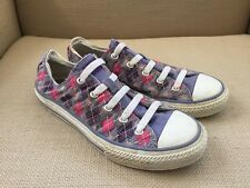 CONVERSE ALL STAR PURPLE PINK ARGYLE SNEAKERS ELASTIC LACES YOUTH 3/WOMENS 5