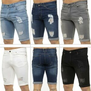Kruze Denim Mens Shorts Stretch Regular Fit Distressed Ripped Half Jeans Pants