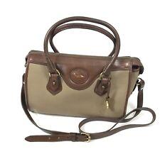 Vtg Dooney & Bourke Gladstone Leather Satchel Tan AWL Pebbled Bag Purse