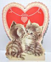 Vintage Valentine's Day Cat Window Decoration, Eureka USA Cute Kitten