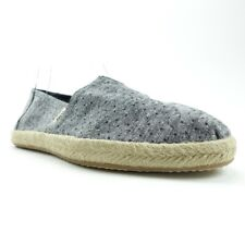 Toms Womens Espadrille Flat Shoes Gray Chambray Dots Round Toe Slip Ons 6 New