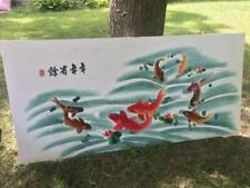 "Huge 60"" x 32"" Chinese Silk KOI Hand-made Embroidery Painting Fish Carp Fabric"