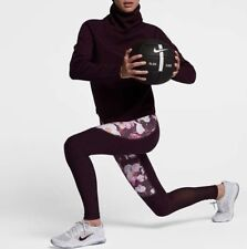 NIKE POWER LEGEND Floral Wmns Training Tights 861424-652 Port Wine Size XS New