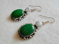 "Green jade, rainbow moonstone earrings, silver 2"""