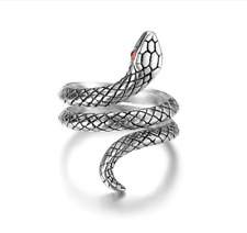 S925 Sterling Silver Ruby CZ Inlay Adjustable Snake Design Ring and Band