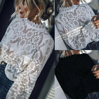 HOT Women Casual Lace Crochet Long Sleeve Embroidery Shirt Tops Ladies Blouse